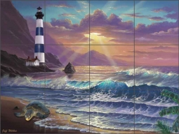 Wilkie Lighthouse Seascape Ceramic Tile Mural POV-JWA035