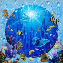Dolphin Castle II by Jeff Wilkie Glass Wall & Floor Tile Mural - POV-JWA036
