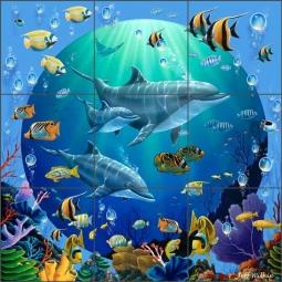 Tile Mural Backsplash Ceramic Wilkie Undersea Dolphin Tropical Fish POV-JWA036