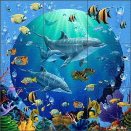 Dolphin Explorers II by Jeff Wilkie Glass Wall & Floor Tile Mural - POV-JWA038