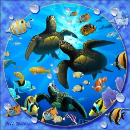 Honu Paradise II by Jeff Wilkie Ceramic Accent & Decor Tile - POV-JWA039AT