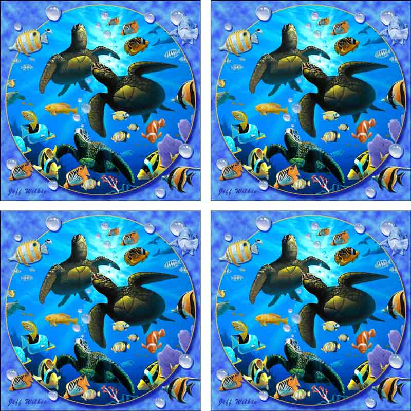 Honu Paradise II by Jeff Wilkie Ceramic Accent & Decor Tile Set - POV-JWA039AT