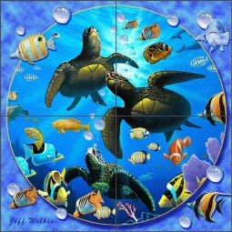 Honu Paradise II by Jeff Wilkie Glass Tile Mural - POV-JWA039