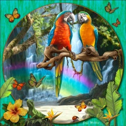 Macaw Waterfall II by Jeff Wilkie Ceramic Accent & Decor Tile - POV-JWA044AT