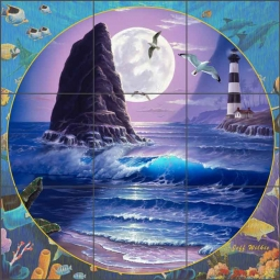 Molakai Lighthouse II by Jeff Wilkie Ceramic Tile Mural - POV-JWA047