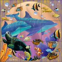 Colorful Dolphins II by Jeff Wilkie Ceramic Tile Mural - POV-JWA048