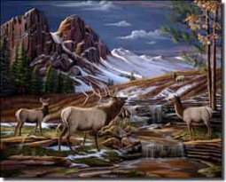 "Kendrick Elk Lodge Art Ceramic Accent Tile 10"" x 8"" - POV-LKA001AT"