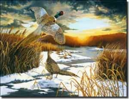 "Kendrick Pheasant Sunrise Ceramic Accent Tile 8"" x 6"" - POV-LKA002AT"