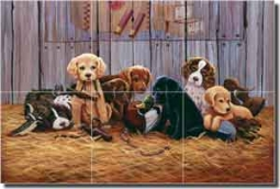 "Kendrick Puppies Dogs Glass Tile Mural 18""  x 12"" - POV-LKA003"