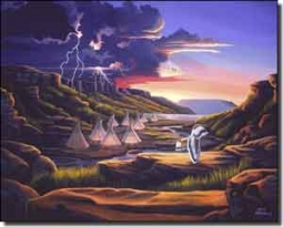"Kendrick Native American Landscape Ceramic Accent Tile 10"" x 8"" - POV-LKA005AT"