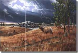 "Kendrick Elk Lodge Art Floor Tile Mural 36"" x 24"" - POV-LKA007"