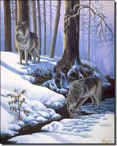 "Kendrick Wolves Animal Ceramic Accent Tile 8"" x 10"" - POV-LKA009AT"