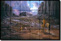 "Kendrick Cowboys Cattle Tumbled Marble Tile Mural 24"" x 16"" - POV-LKA012"