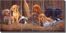 "Kendrick Lodge Hunting Dogs Ceramic Tile Mural 25.5"" x 12.75"" - POV-LKA015"