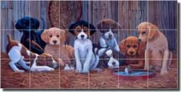 "Kendrick Lodge Hunting Dogs Ceramic Tile Mural 25.5"" x 12.75"" - POV-LKA016"