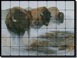 "Kendrick Buffalo Animal Tumbled Marble Tile Mural 32"" x 24"" - POV-LKA022"