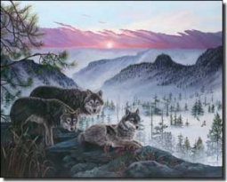 "Kendrick Animal Wolves Ceramic Accent Tile 10"" x 8"" - POV-LKA024AT"