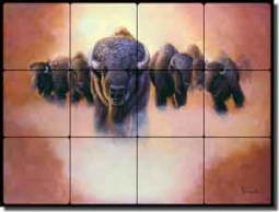 "Kendrick Animal Buffalo Tumbled Marble Tile Mural 24"" x 18""- POV-LKA025"