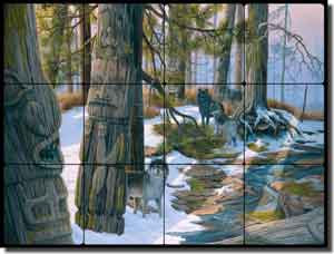 "Kendrick Animals Wolves Tumbled Marble Tile Mural 24"" x 18"" - POV-LKA026"