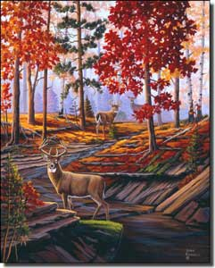 "Kendrick Animal Deer Ceramic Accent Tile 8"" x 10"" - POV-LKA027AT"