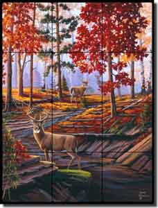 "Kendrick Animal Deer Tumbled Marble Tile Mural 18"" x 24"" - POV-LKA027"