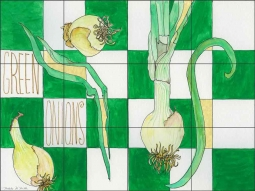 Green Onions by Melabee M. Miller Ceramic Tile Mural - POV-MM007