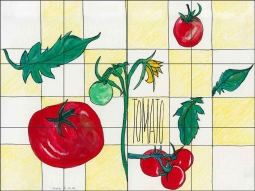 Tomato by Melabee M. Miller Ceramic Tile Mural - POV-MM009