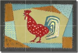 "Jan Rooster Glass Tile Mural 18"" x 12"" - POV-RJA007"