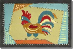 "Jan Rooster Glass Tile Mural 18"" x 12"" - POV-RJA008"