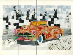 Fantasy Car 2 by Ramona Jan Ceramic Tile Mural POV-RJA014