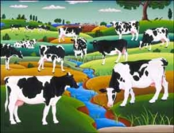 del Rio County Life Cows Ceramic Accent Tile - POV-RR002AT