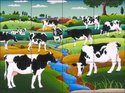 Cows Too by Raul del Rio Ceramic Tile Mural - POV-RR002