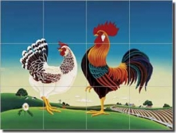 "del Rio Country Chickens Glass Tile Mural 24"" x 18"" - POV-RR003"
