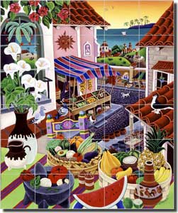 "del Rio Tropical Fruit Glass Tile Mural 30"" x 36"" - POV-RR004"