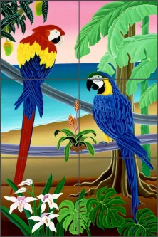 Red and Blue Macaws by Raul del Rio Ceramic Tile Mural - POV-RR011
