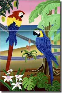 "del Rio Tropical Macaw Birds Glass Tile Mural 12"" x 18"" - POV-RR011"