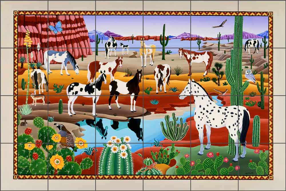 Painted Horses by Raul del Rio Ceramic Tile Mural - POV-RR015: Artwork On  Tile - Fine Art Tile Murals and Accents
