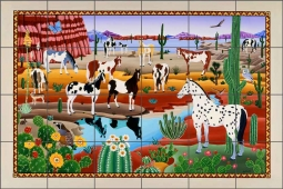 Painted Horses by Raul del Rio Ceramic Tile Mural - POV-RR015
