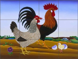 Gungor's Chicken by Raul del Rio Ceramic Tile Mural - POV-RR017
