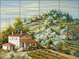 Olive Groves by Tisha Whitney Ceramic Tile Mural POV-TWA003