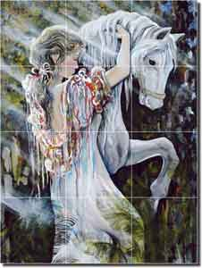 "Whitney Horse Fillies Ceramic Tile Mural 18"" x 24"" - POV-TWA013"
