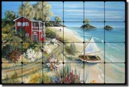 "Whitney Tropical Seascape Tumbled Marble Tile Mural 24"" x 16"" - POV-TWA014"