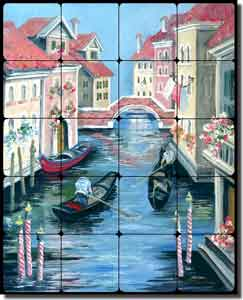 "Whitney Venice Canal Tumbled Marble Tile Mural 16"" x 20"" - POV-TWA019"