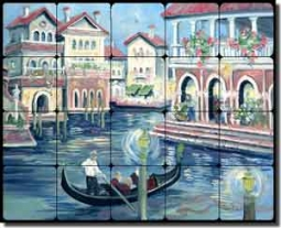 "Whitney Venice Canal Tumbled Marble Tile Mural 20"" x 16"" - POV-TWA023"