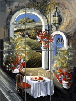 Whitney Tuscan Terrace Cafe Art Ceramic Tile Mural - POV-TWA026