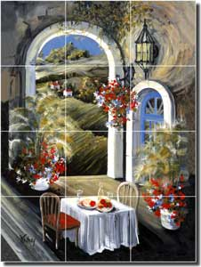 "Whitney Terrace Cafe Ceramic Tile Mural 12.75"" x 17"" - POV-TWA026"