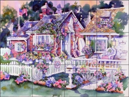 A Sailor's Cottage by Tisha Whitney Ceramic Tile Mural POV-TWA027