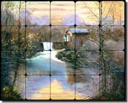 "Davenport Country Watermill Ceramic Tile Mural 20"" x 16"" - POV-WDA001"