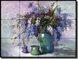 "Davenport Wisteria Floral Tumbled Marble Tile Mural 24"" x 18"" - POV-WDA002"