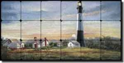 "Davenport Nautical Lighthouse Tumbled Marble Tile Mural 24"" x 12"" - POV-WDA003"